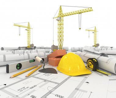 Construction plan in roll with scale and pencil
