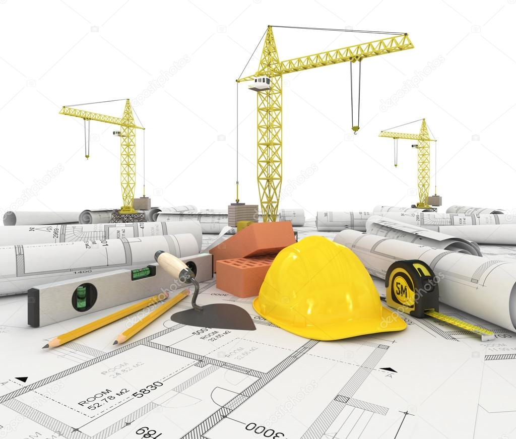 Construction plan in roll with scale and pencil stock for Plan construction