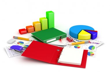 Office supplies with charts