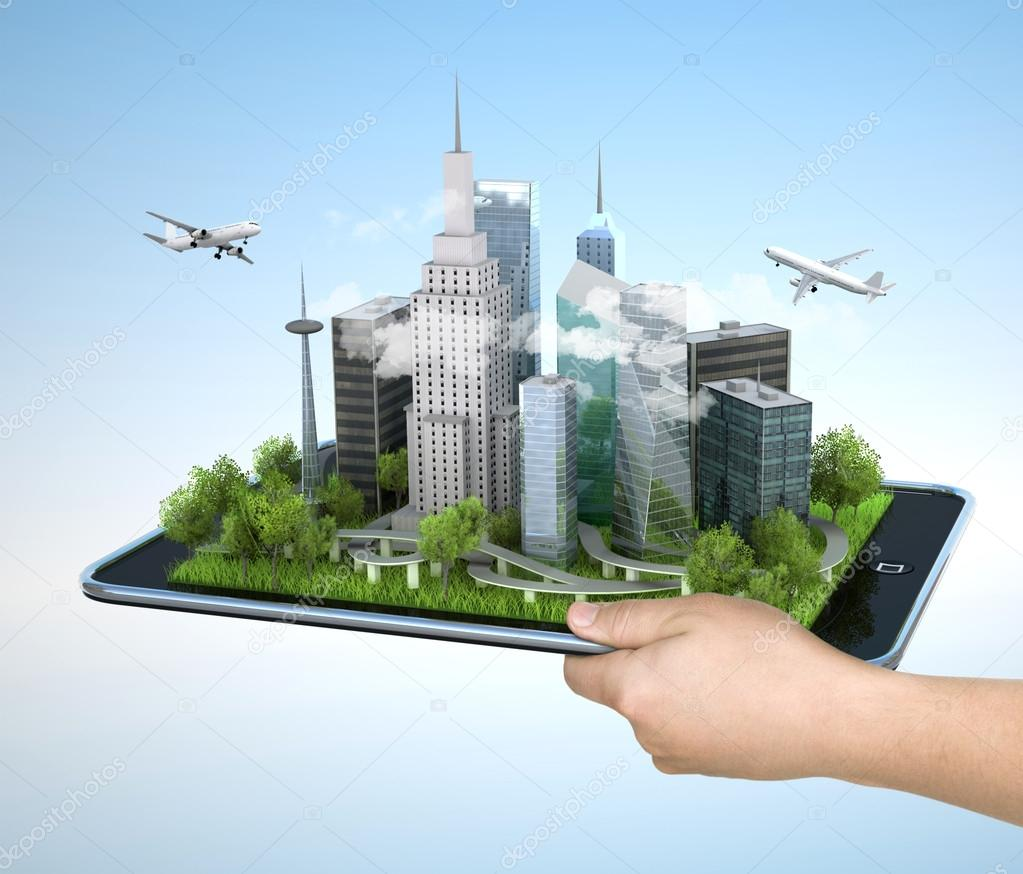 Man holding tablet pc with city on it