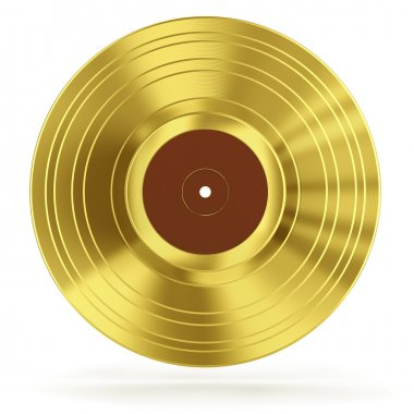 Gold vinyl record isolated