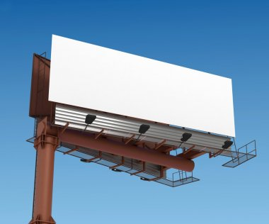Grand outdoor billboard over white 3D