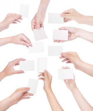 Set of hand holding business card