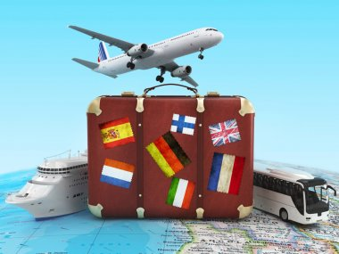Plane, bus, cruise ship  and suitcase on world map