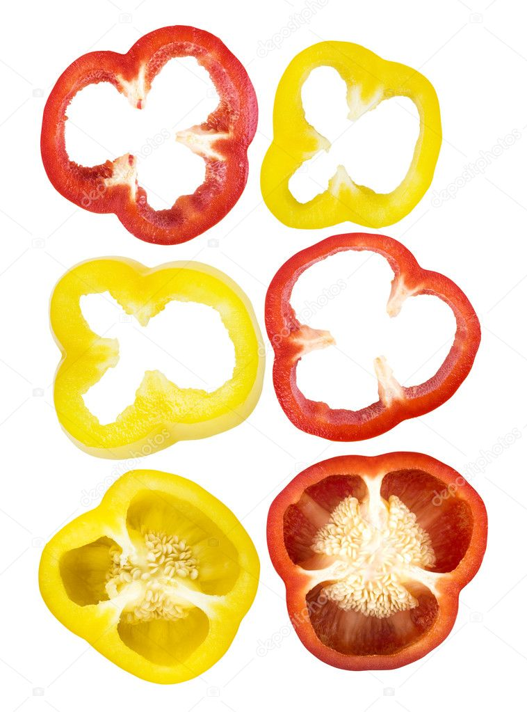 Set of sliced red, yellow bell pepper