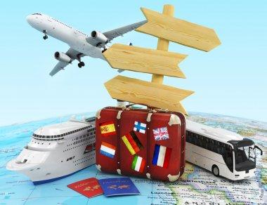 Plane, bus, cruise ship  and suitcase on worldmap