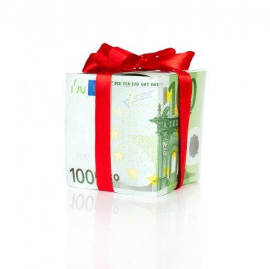 Euro bill packed as a gift