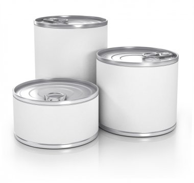 Cans with blank white label