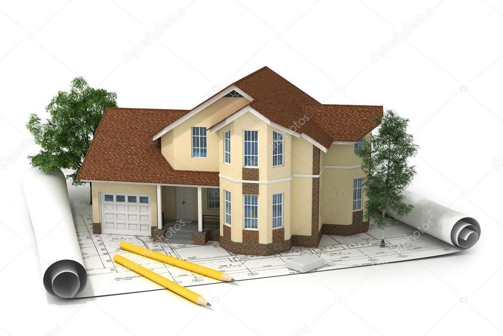 Baupläne Für Häuser bauplan mit haus — stockfoto © urfingus #47113747