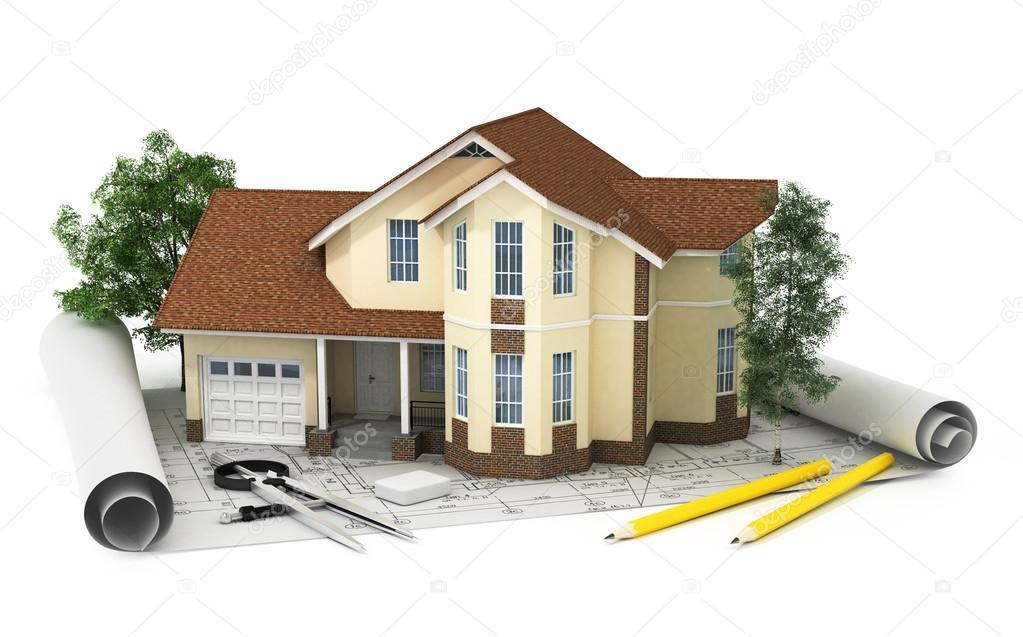 Rendering 3d di una casa con garage foto stock for Piani di garage di 1000 piedi quadrati