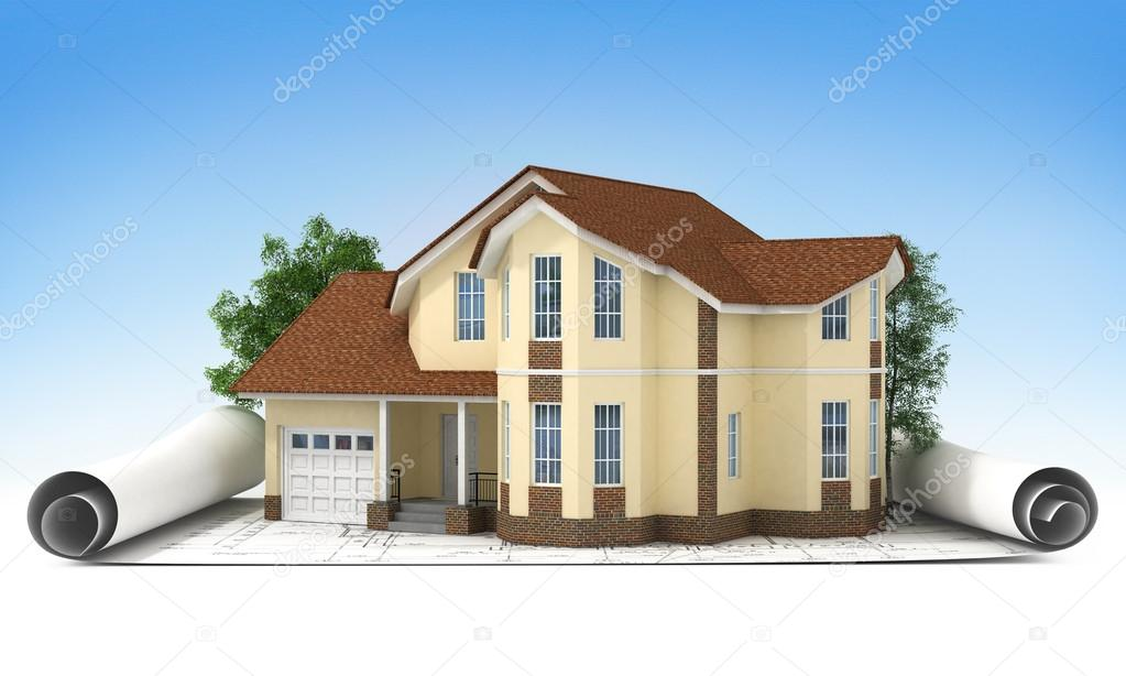 Bauplan Mit Haus Und Holz 3d U2014 Foto Von Urfingus