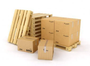 Creative cargo, delivery and transportation logistics storage warehouse industry business concept: group of stacked corrugated cardboard boxes on wooden shipping pallets isolated on white background