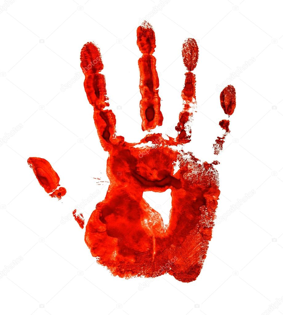 Bloody handprint isolated on a white background — Stock