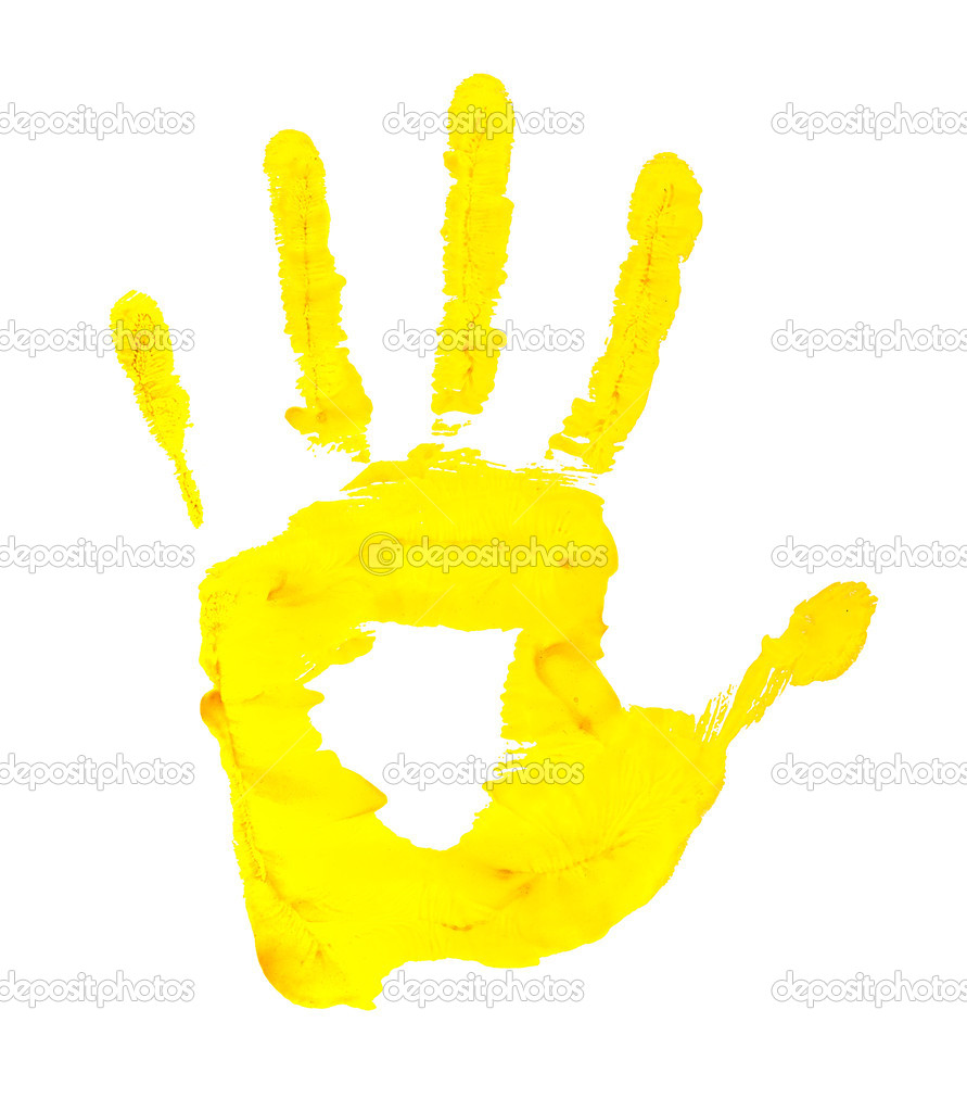 handprint yellow paint on a white background isolated stock photo
