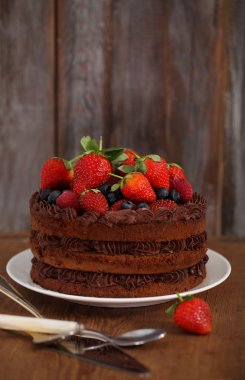 Chocolate cake with icing and fresh berry