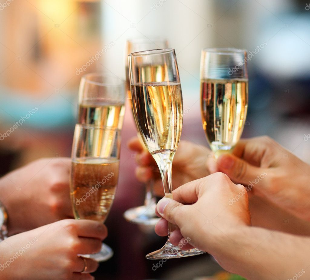 Celebration. holding glasses of champagne