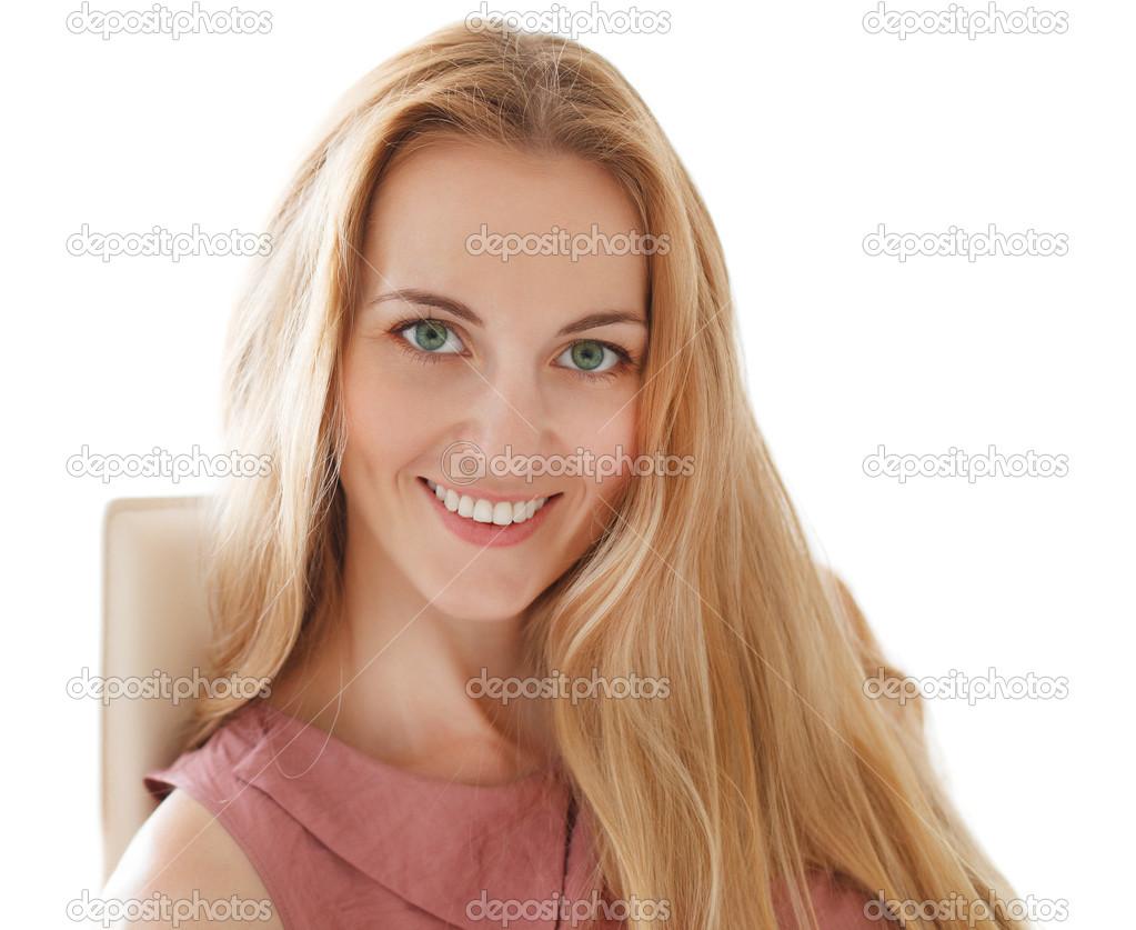 Portrait de joyeux joyeuse souriante jeune belle femme - Femme blonde photo ...