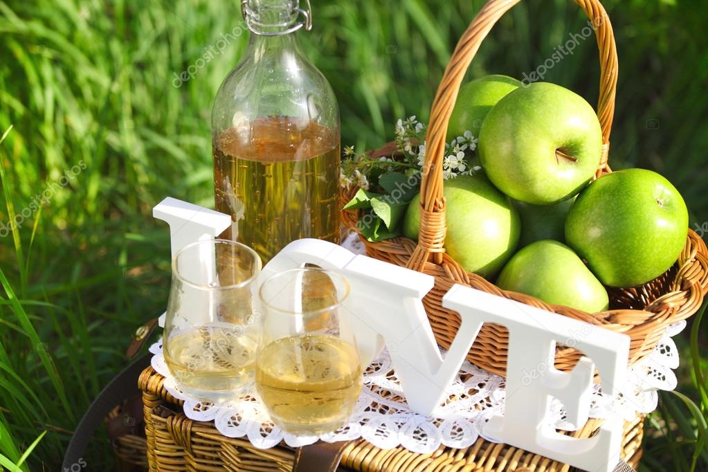 Apple drink outdoors