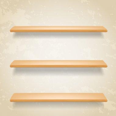 wooden shelves on grunge background