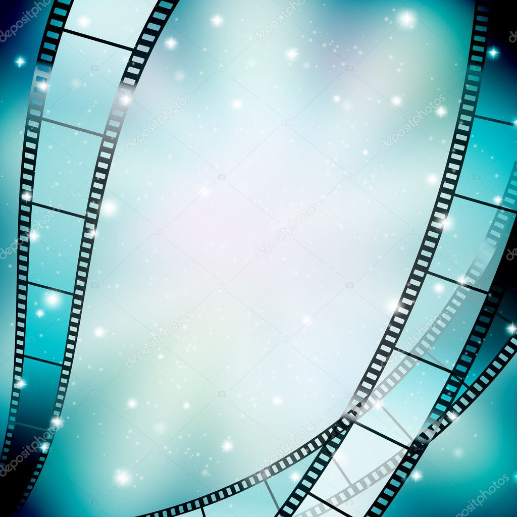 Background with filmstrip and stars stock vector
