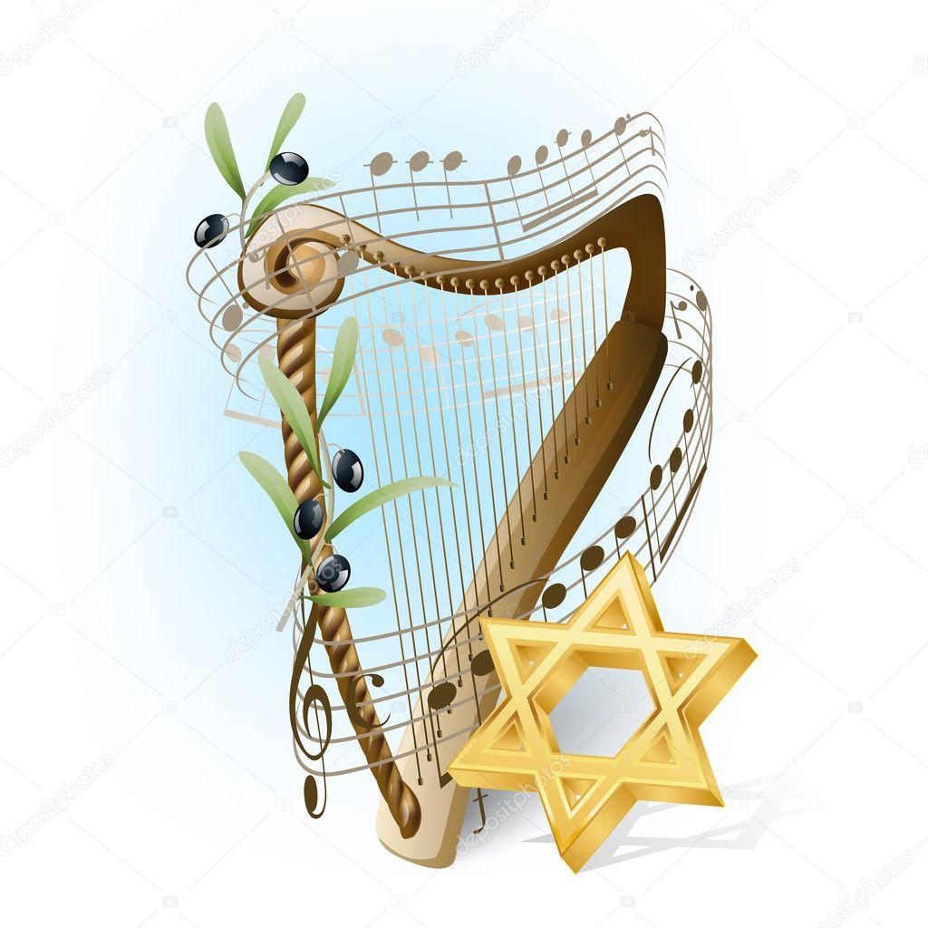 harpa com notas musicais azeitonas e estrela de davi vetores de