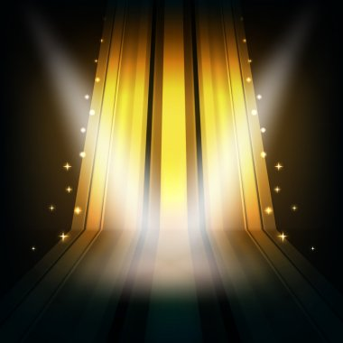 abstract golden background with stripes and spot lights