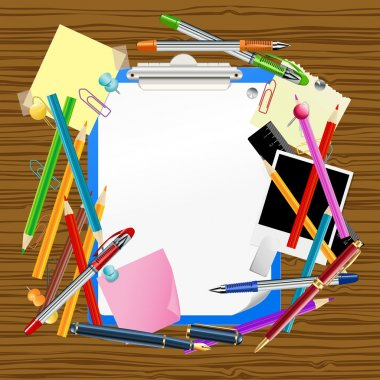 school background with clipboard and office supplies