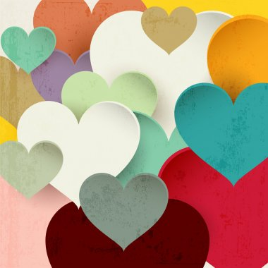 Vector background with beautiful colorful hearts clip art vector