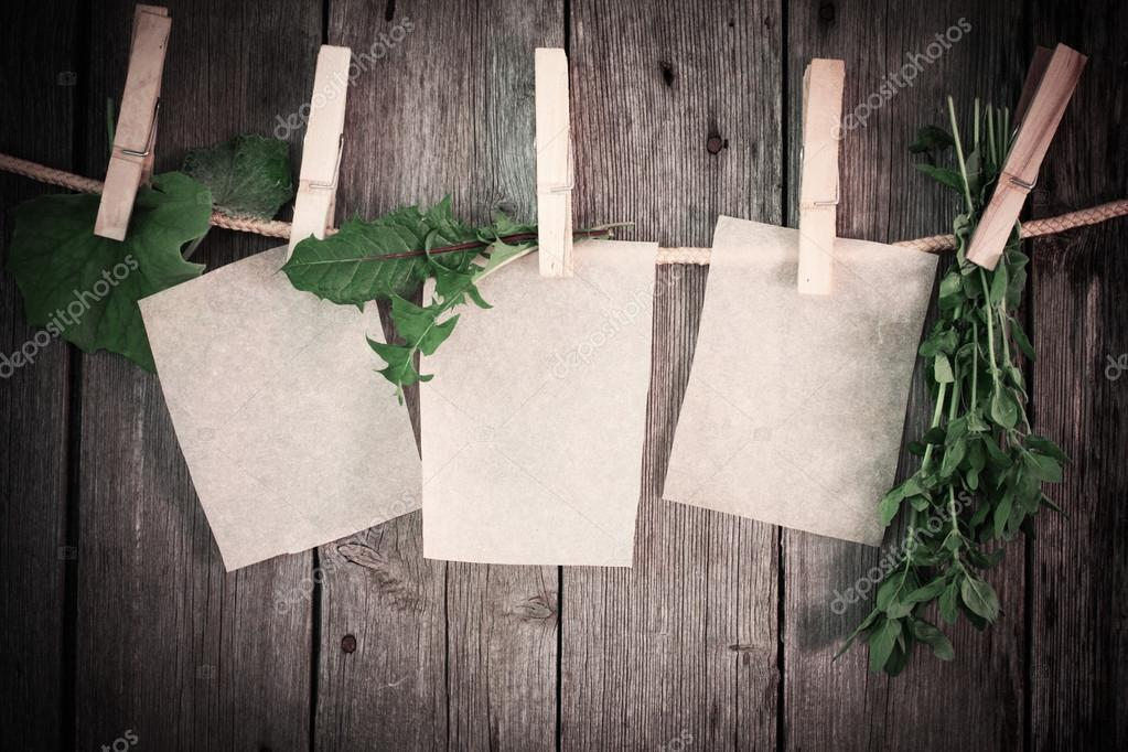 medicine herbs and paper attach to rope with clothes pins on woo