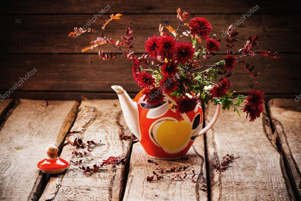 still life with red chrysanthemum