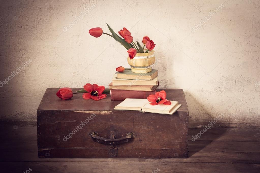 Valigia con vecchi libri e tulipani rossi foto stock for Vecchi piani colonica con foto