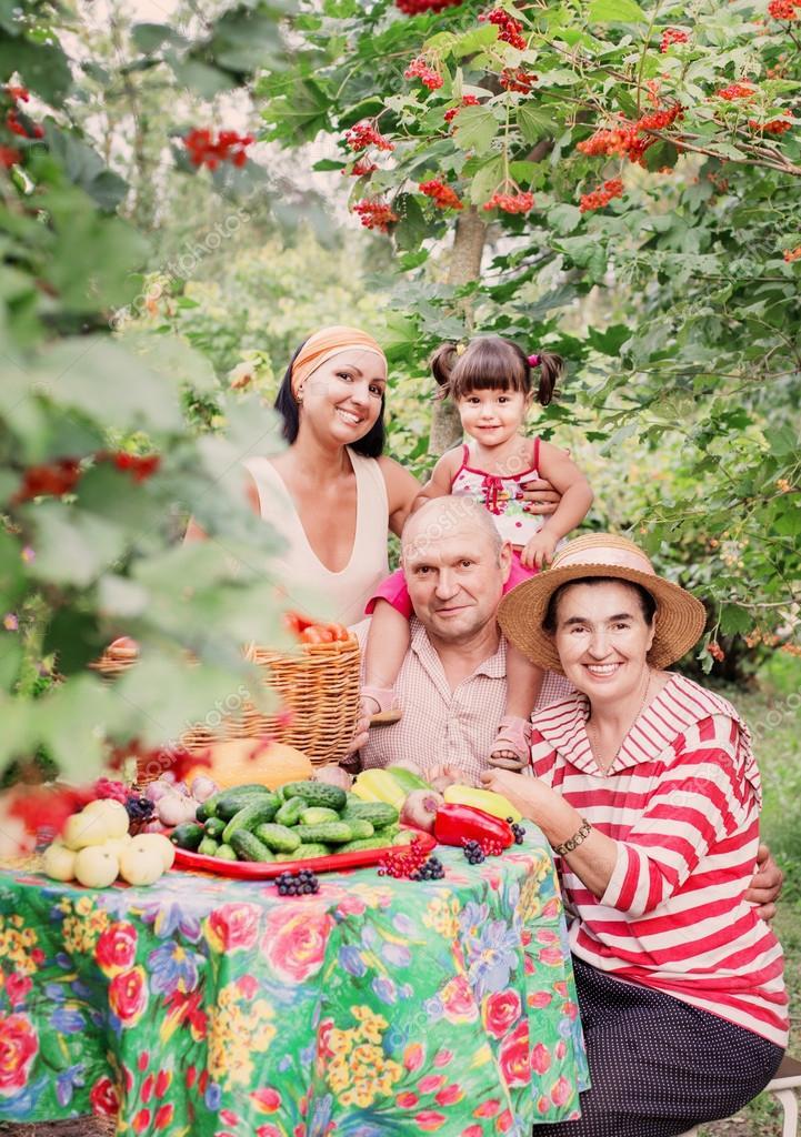 Happy family in garden