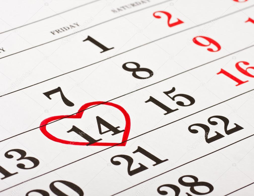 Calendar with the date of February 14 Valentin