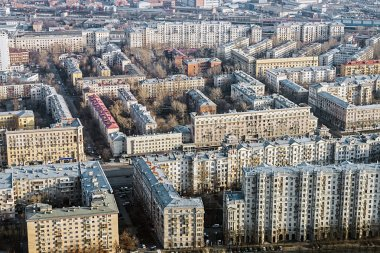 Old quarters Stalinist buildings in Moscow