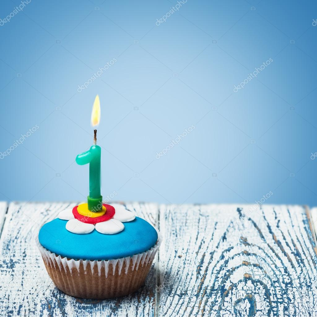 Cupcake With Number One Candle Stock Photo Doroshin 51064773