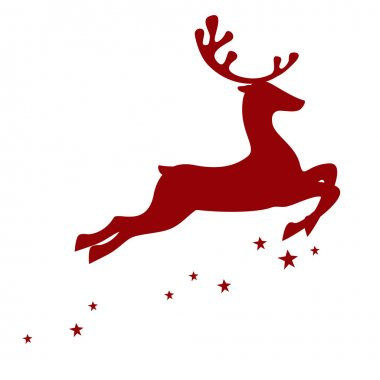 Red reindeer on white background