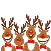 Photo Christmas illustration of cartoon reindeer.