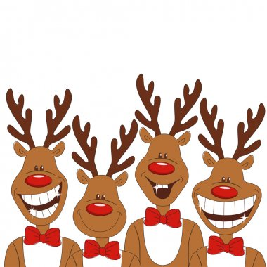 Christmas illustration of cartoon reindeer.