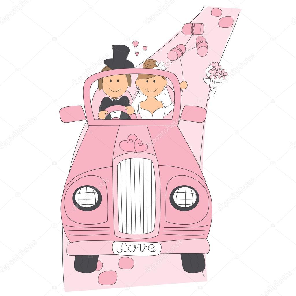 Couple de mariage sur la voiture pour leur lune de miel image vectorielle sivanova 15504711 - Dessin voiture mariage ...