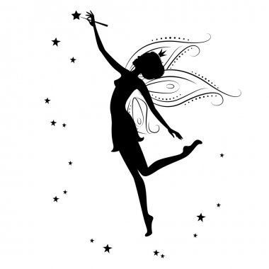 Beautiful fairy silhouette. She dancing , holding in hand the magic wand , illustration on a white background. stock vector