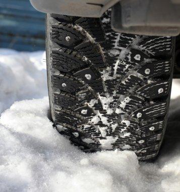 Car wheel in snow