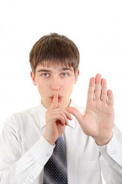 Finger on Lips in Silence Gesture