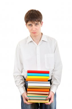 Sad Student holding pile of the Books