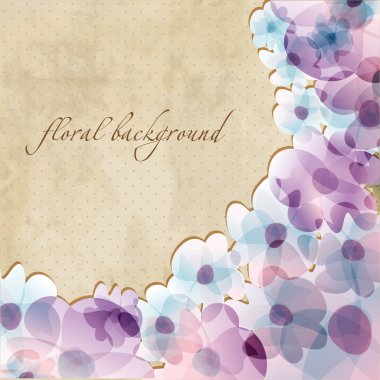 Floral card with watercolor violet flowers on grunge paper background