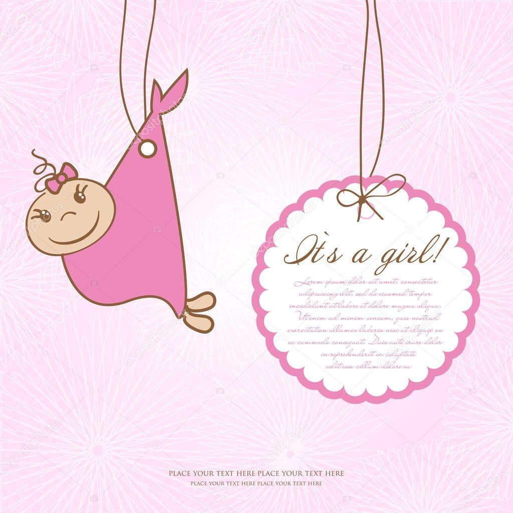 tarjeta de ducha muchacha bebé con pasos de pie y marco para el ...