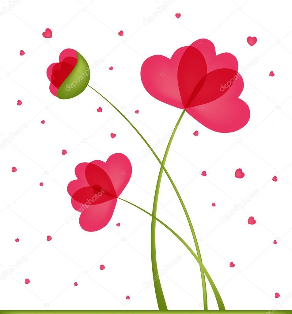 tarjeta de felicitación. ramo de flores en una forma de corazón ...