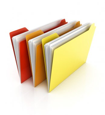 Folders and files on white