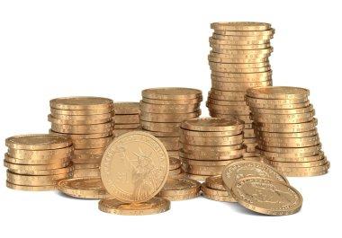 Stacks of golden dollar coins on white
