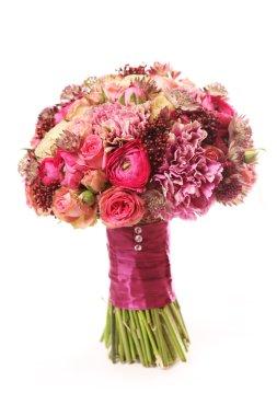 Wedding bouquet with Astrantia, Skimma, Brassica, rose bush, Ran