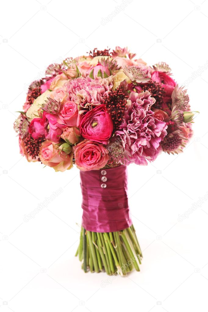 Wedding bouquet with Astrantia, Skimma, Brassica, rose bush, Ran